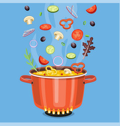cooking concept on the stove boil the soup vector image