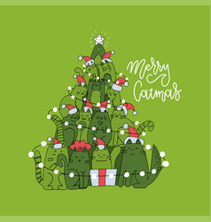 cute christmas card with christmas tree made vector image