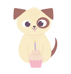 cute dog with cupcake and candle birthday vector image