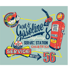 Cute garage gasoline service station vector