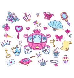 Cute princess set with carriage vector