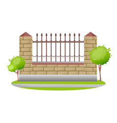 decorative stone and metal fences exterior vector image