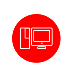 desktop pc computer set office outline red icon vector image