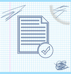 document and check mark line sketch icon isolated vector image