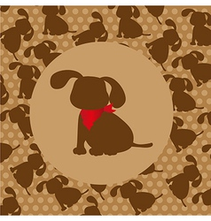 dog silhouette over pattern of dog silhouette vector image