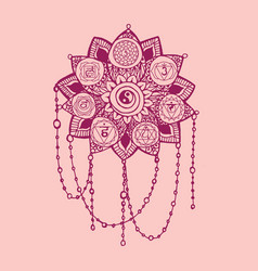 Doodle style pink line art lotus with yoga chakras vector