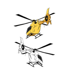 Drawing helicopter in yellow color vector