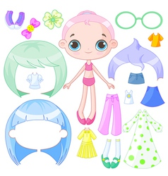 Dress up doll vector