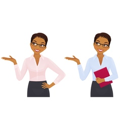 Elegant business woman showing looking up vector image