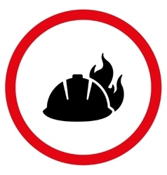Fire helmet flat rounded icon vector