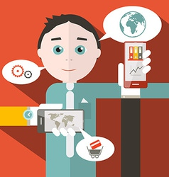 Flat Design Media with Man vector image