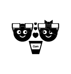 Flat icon in black and white style boy girl vector