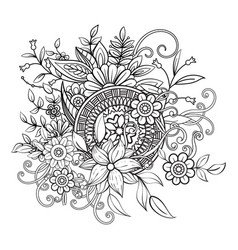 Floral pattern in black and white vector