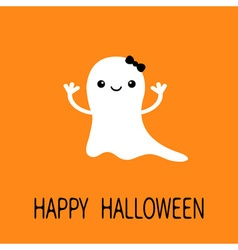 Funny bagirl ghost with black bow smiling face vector