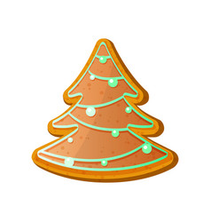 Gingerbread fir tree christmas ginger bread vector