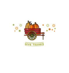 give thanks card cartoon pumpkins on wheelbarrow vector image