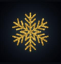 gold glitter snowflake year symbol vector image