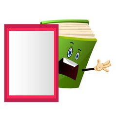 Green book teaching a lesson on white background vector