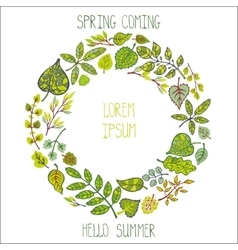 Green leavesbranches wreathSpringsummer vector image
