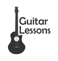 Guitar lessons school logo flat vector