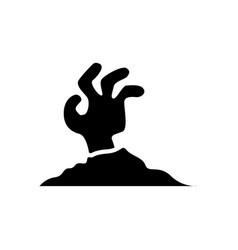 halloween zombie hand icon vector image