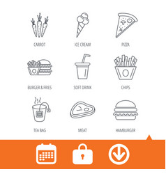 Hamburger pizza and soft drink icons tea bag vector