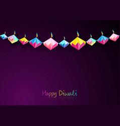 Happy diwali celebration in origami paper style vector