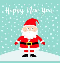 happy new year santa claus on snowdrift merry vector image