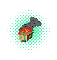 House on fire icon comics style vector image