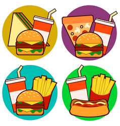 Icons of fast food combos set contains hot dog vector