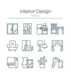 Interor design icons isolated vector
