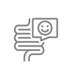 Intestine with happy face in speech bubble line vector