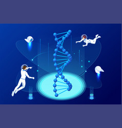 isometric dna structure in space astronaphs work vector image