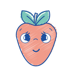 Kawaii nice shy strawberry icon vector