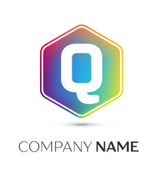 Letter q logo symbol in the colorful hexagonal on vector
