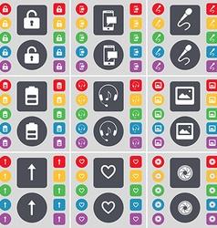 Lock SMS Microphone Battery Headphones Window vector