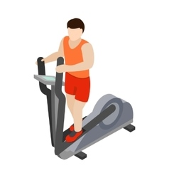 Man on elliptical walker icon isometric 3d style vector