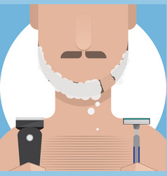 man shaving vector image