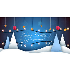 Merry christmas happy new year winter landscape vector