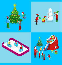 Merry Christmas Isometric Greeting Card Set vector image