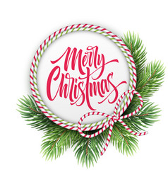 Merry christmas lettering in circle rope frame vector