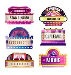 Movie and cinema retro signboards vector