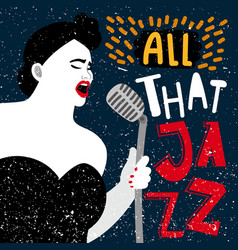 Music banner with female singer all that jazz vector