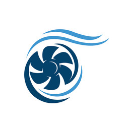 new abstract water wind turbine logo design vector image