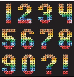 Numbers Alphabet from the multicolored mosaic vector image