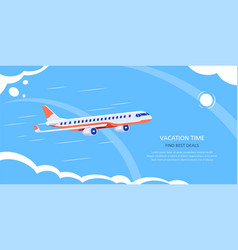 online flight booking banner design flat style vector image