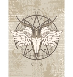 pentagram with the image of a goat skull vector image