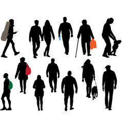 people strolling in park vector image