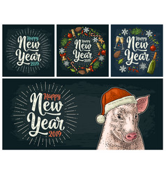 pig head in santa claus hat color vintage vector image