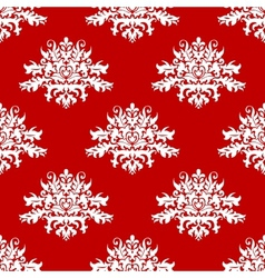 Red or amaranth damask style fabric pattern vector image